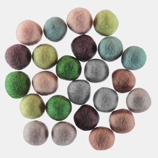 Felt balls 20mm pastel 8x3pcs ass colors