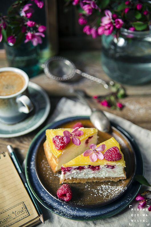 pieprz czy wanilia fotografia i kulinaria: Sernik cytrynowy z malinami