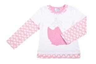 Camiseta para niña en color blanco. Mangas cortas y con doble manga larga por debajo, en color rosado y mini corazones en blanco.