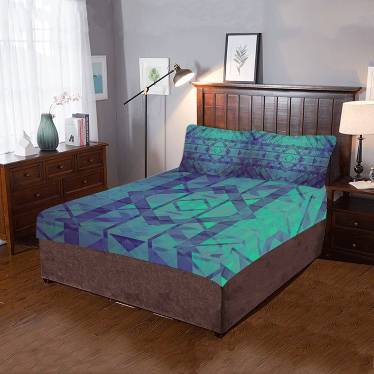 Sci-Fi Dream Blue Geometric design 3-Pieces Bedding Set by  Scar Design. #bedroom #scifi #quiltcover  #bedding #bedroomset #duvet #quilt #beddingset #3piecesbedroomset #pillowcases #bed #home #homedecor #modern #artsadd #scardesign #onlineshopping #shopping #family #style #39 #art #design #colorful #geometric #blue #geometricstyle #gifts #giftsforhim #giftsforher