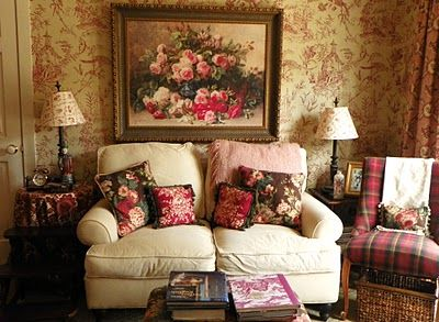 Just a dab'll do!  Toile paper, tartan chair, floral painting.  Love this lived in, collected look!