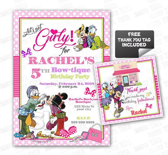 Minnie Mouse Bow-tique Customized Printable Invitation-Minnie