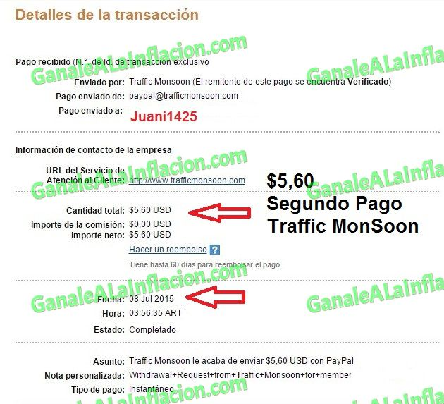 TrafficMonSoon | Segundo Pago $5,60 -  08-07-2015