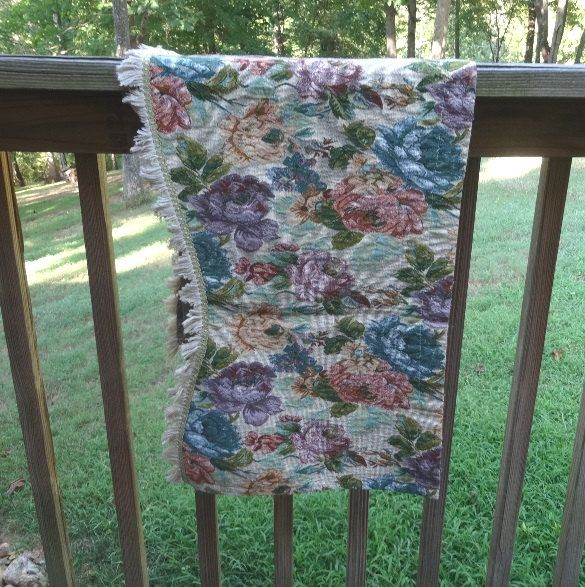 1990s Vintage Floral Tapestry Valance with Braid Trim & Fringe, For Window Treatment, Upcycle to Pillows, 19 x 52, Rod Pocket, Linen Blend by VictorianWardrobe on Etsy