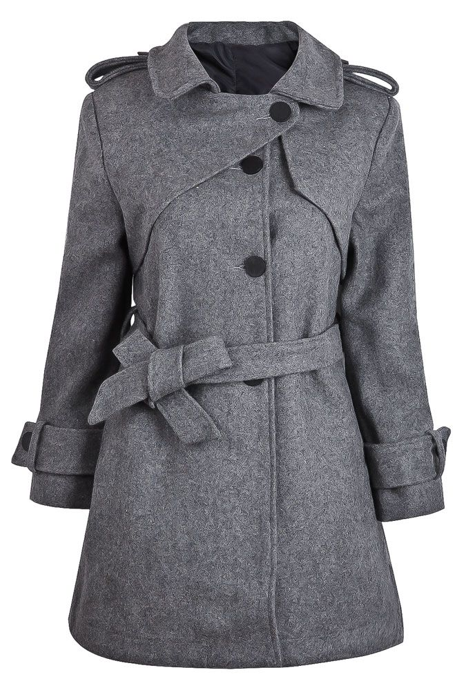 Light Grey Wool Trench Coat with Belt - Sheinside.com