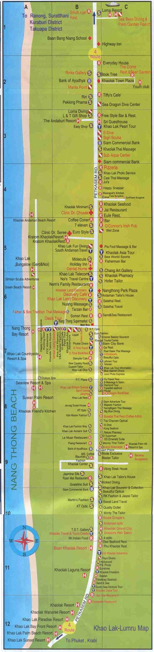 Nang Thong Beach Map of Khao Lak Khaolak Town area, Thailand