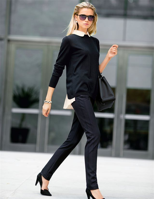 Pullover mit Blusenimitation in der Farbe schwarz / rosenquarz - schwarz, rosa - im MADELEINE Mode Onlineshop