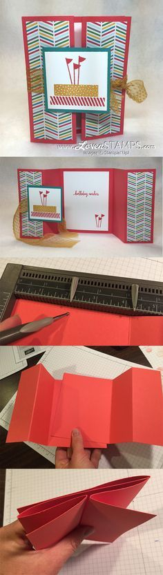 Double Gate Fold Cards Made Easy: Video tutorial instructions from LovenStamps for Build A Birthday by Stampin Up