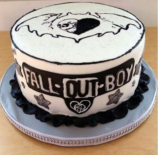 Fall Out boy themed cake with Clandestine Industries batheart symbol