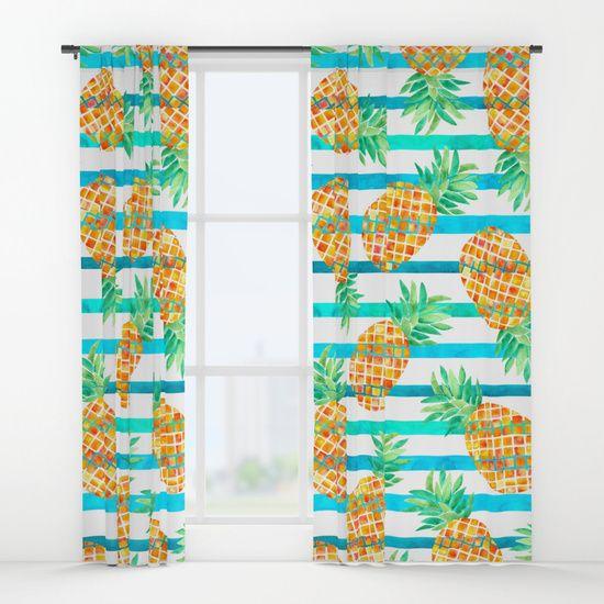 Pineapple Sea Stripes Window Curtains @society6 Watercolor Pineapples on stripes pattern. #society6 #stripes pineapples #pineapple #pattern #decor #home #art #summer #tropical