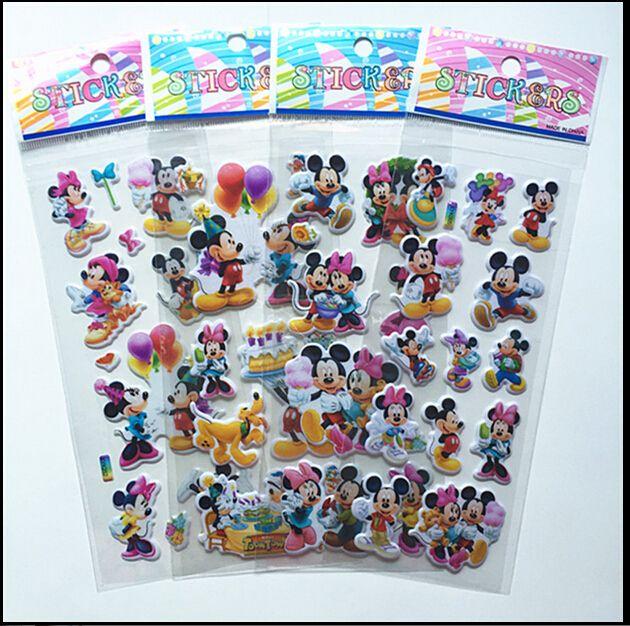 So Cute!!! 6 unids Precioso ratón dimensional Etiqueta de dibujos animados en 3D pegatinas de burbuja de PVC niñas/niños regalo de cumpleaños juguetes de los niños