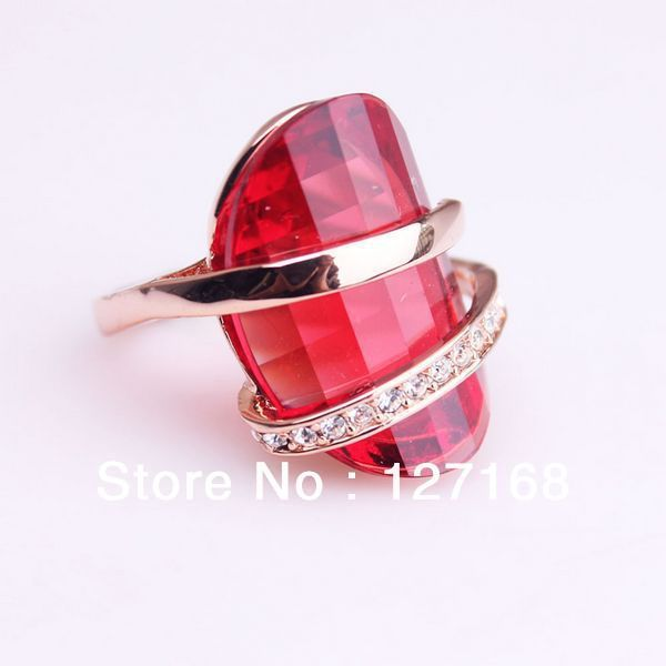 (Минимальный заказ составляет $15 Смешанный Заказ) женщин Высокого Качества 18 К Розовое Золото Кольцо с Рубином Полу Драгоценными Камнями Кольца Лучший Подарок Бесплатная Доставка