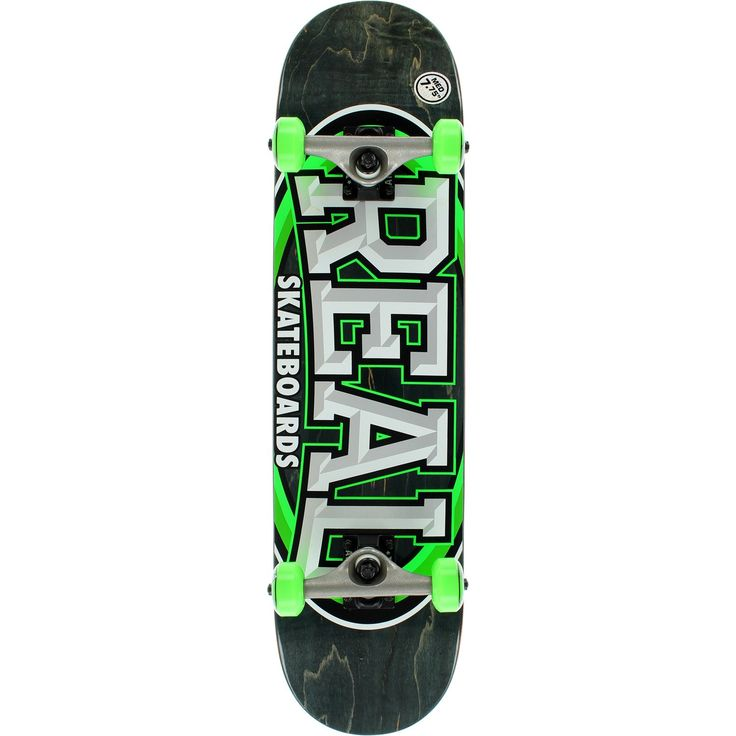 "Real Skateboards Alumni Medium Black / Green / White Complete Skateboard - 7.75"" x 31.6"". One (1) Real Skateboards Alumni Medium Complete from Real Skateboards. Deck Size: 7.75"" x 31.6"". Factory assembled by Real Skateboards Skateboards and ready to skate. Includes trucks, wheels, bearings, hardware, and grip tape."