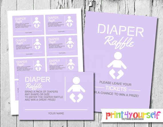 Modern Icon Diaper Raffle Tickets & Sign for by Print4Yourself