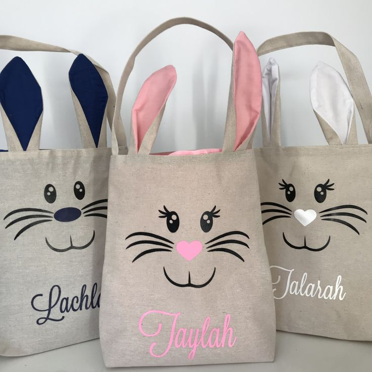 285 best special occasions images on pinterest presents for personalised easter bunny ear tote jute bags treat basket easter fillers negle Gallery