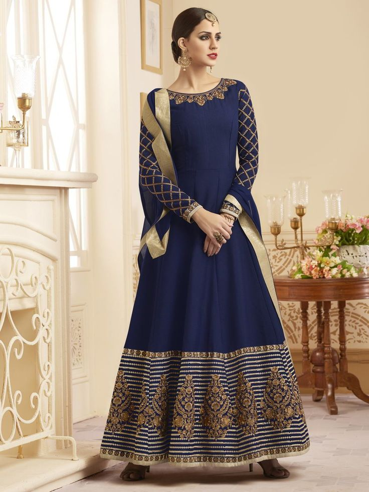 Elegant navy blue partywear anarkali suit online which is crafted from silk fabric with exclusive zari embroidery and stone work.     #ethnicwear #indianclothing #womenfashion #freeshipping #usa #uk #canada #australia #newzealand #mauritius #switzerland #malaysia #singapore #kenya #uae #southafrica #fiji