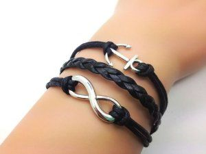 Vintage Style Silver Cute Anchor & Infinity Wish Bracelet Black Rope and Black Leather Personalized Friendship Gift 2217r Retro Bracelet. $14.20