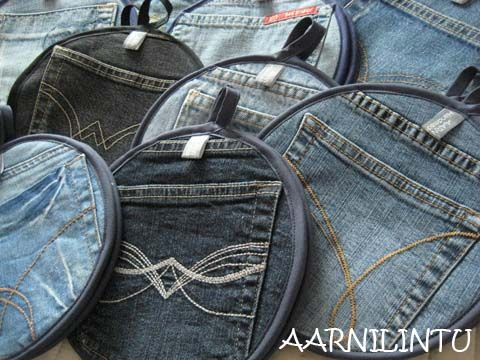 recycled jeans pot holders