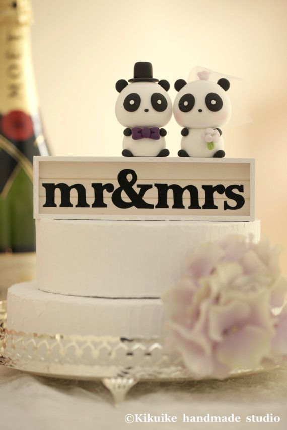 Panda Wedding Cake Topper by kikuike on Etsy