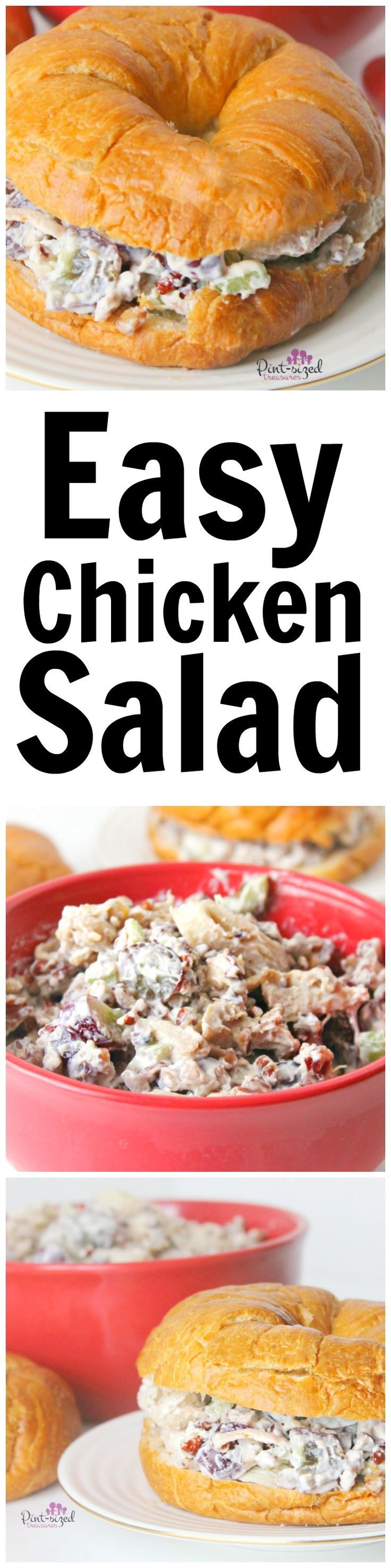 Ohhh yeaahhh! This easy chicken salad has the perfect blend of crunch, sweet and toasty! It's a perfect easy recipe to serve a large crowd or your family! Easy chicken salad is one of our family faves! try this chicken salad recipe that's tweaked to perfection. YUM!