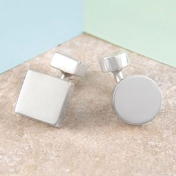 These quirky mismatched sterling silver cufflinks come in a simple square and round design, adding a fresh and innovative edge to any suit.  Ideal for super-stylish gents! #Otisjaxon #Jewellery