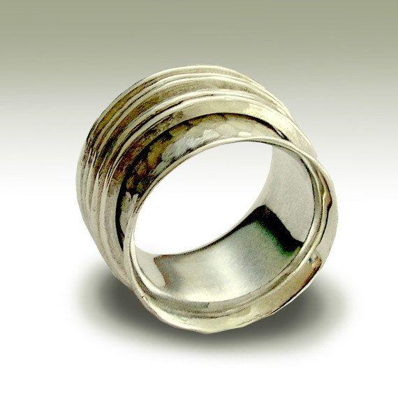 Banda bodas de plata banda ancha plateada anillo de por artisanlook