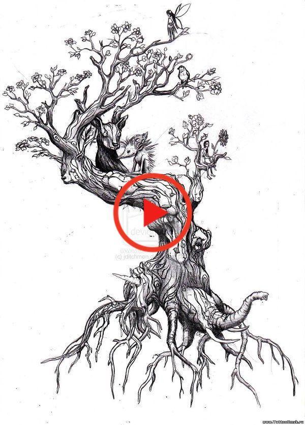 Fairy And Animals On Ash Tree Tattoo Design Animals Ash Design Fairy Tattoo Tree In 2020 Tree Tattoo Designs Tree Tattoo Trendy Tree