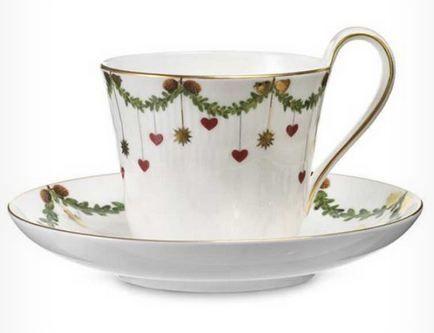 Kaffekopp med skål. Starfluted Christmas fra Royaldesign. Om denne nettbutikken: http://nettbutikknytt.no/royaldesign/