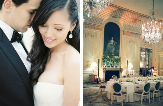 Tres elegant Paris wedding details at the Hotel Le Meurice Photo by Clary Pfeiffer via Elizabeth Anne Designs