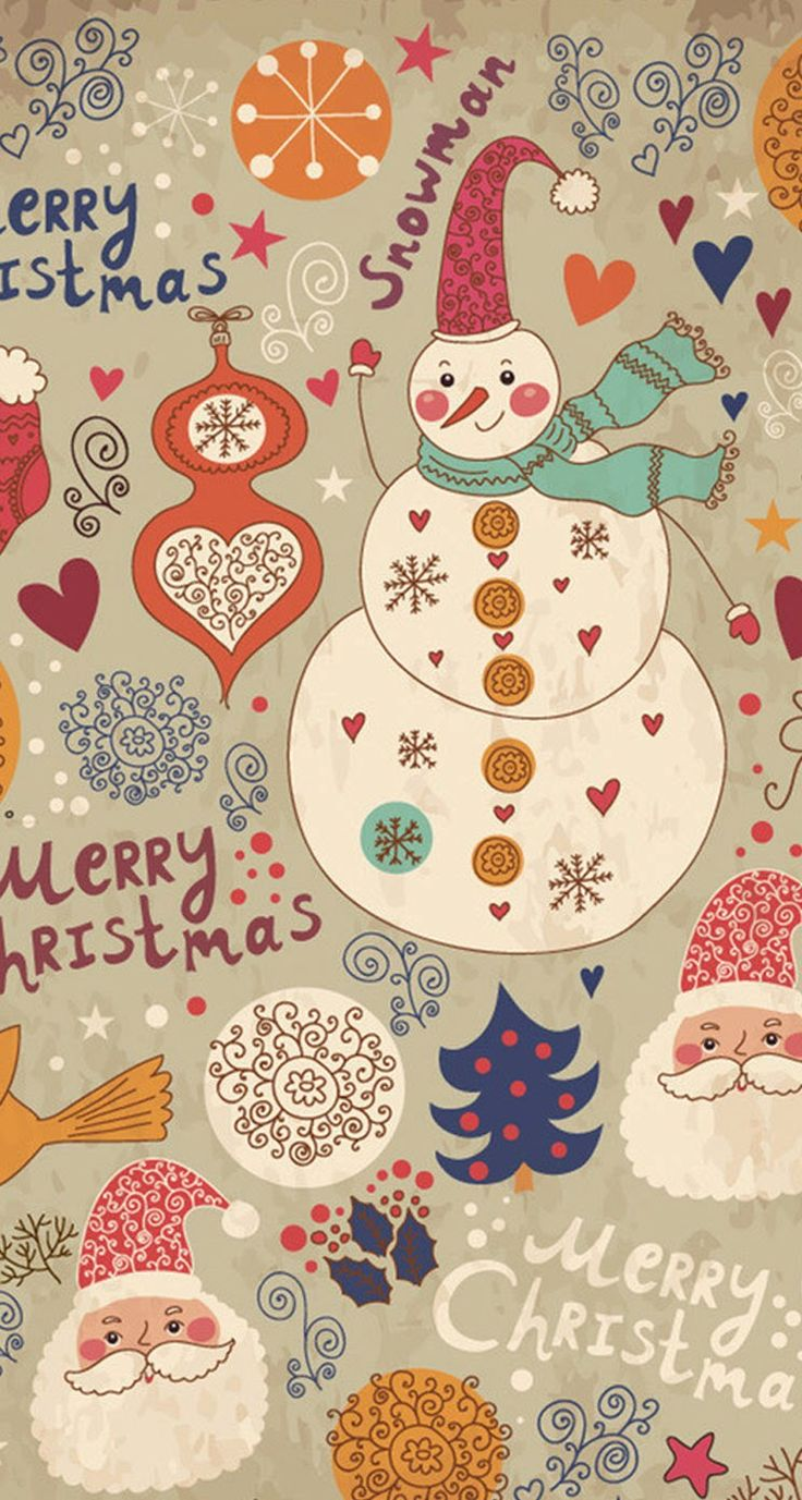 Tap image for more Christmas Wallpapers! Snowman Cartoon - iPhone wallpapers @mobile9