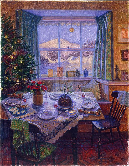 cozy christmastime table setting, by tree with snowscape outside the window - painting, artist unknown