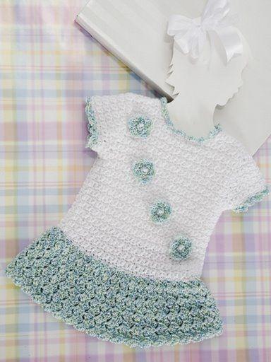 Green and White Dress free crochet graph pattern