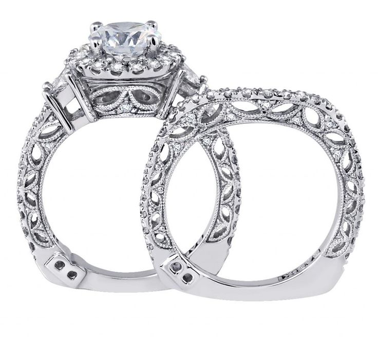 925 Sterling Silver Cz Vintage Style Wedding Band Set With Stylish Shank Design