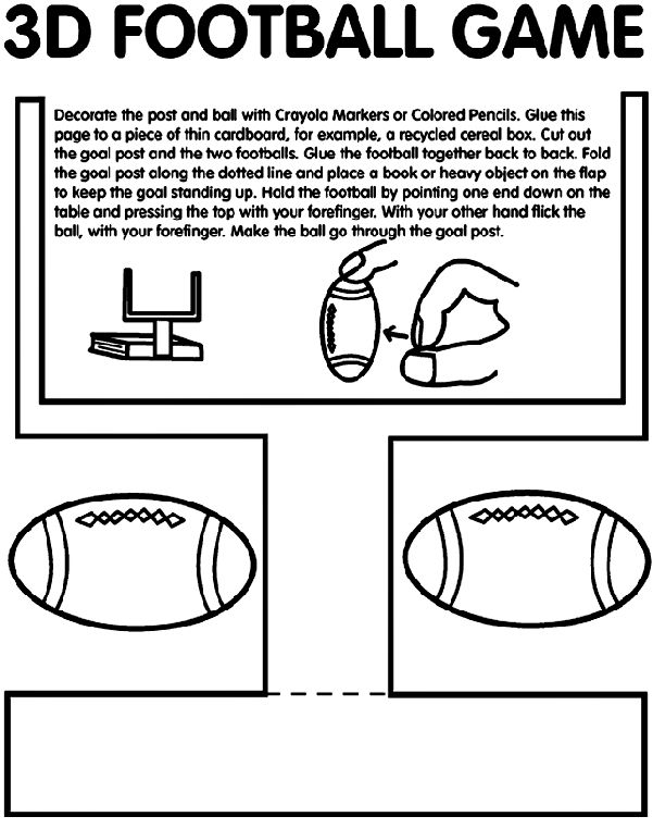 football game coloring page color and laminate for a fun fine motor activity for all the boy football fans
