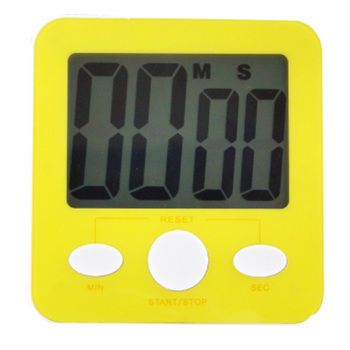 Quadrate Utility Functional Electronic Digital Timer Kitchen Timer, Yellow