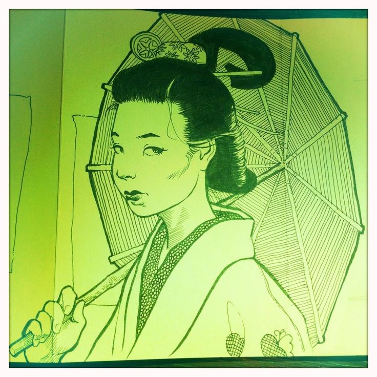 Sketch of Geisha with Parasol