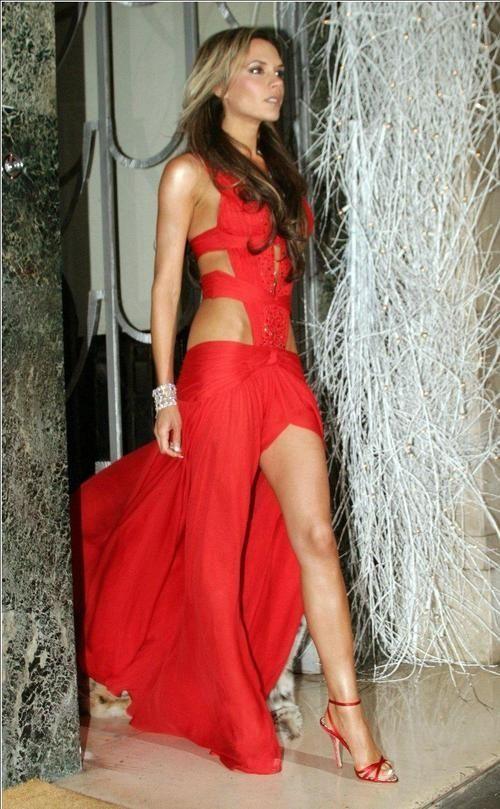 Victoria beckham red maxi dress