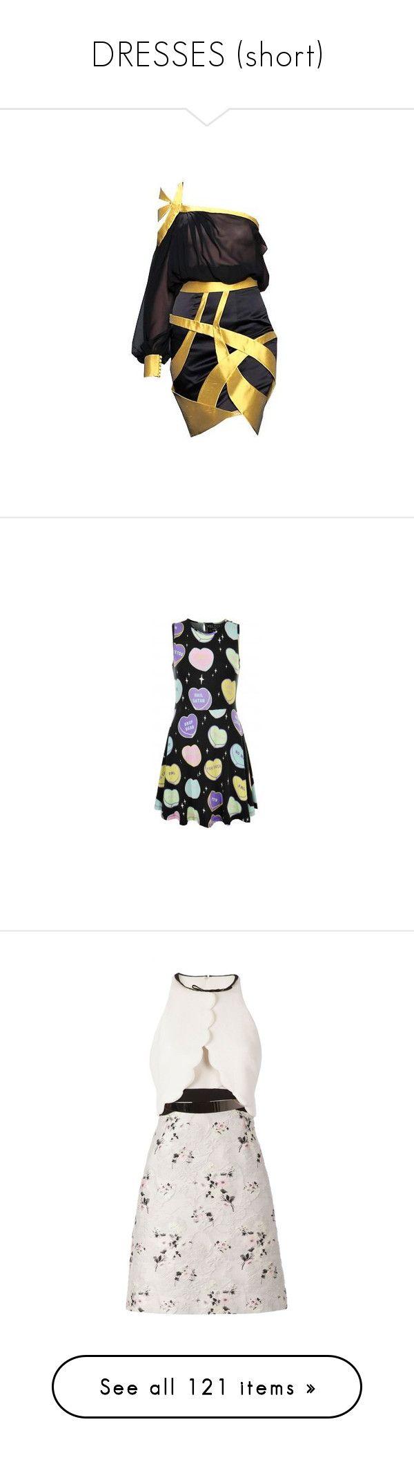 """DRESSES (short)"" by beedalee ❤ liked on Polyvore featuring dresses, gowns, short dresses, vestidos, mini dress, scoop neck dress, killstar dress, multi color mini dress, multi colored dress and killstar"