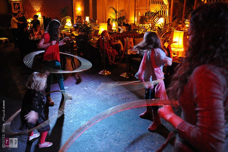Little Miss Circus teaching hula hoops at the Victoria Room Darlinghurst. Photo: Rick Monk.