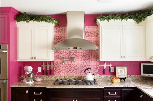 Pink Kitchen White Cabinets