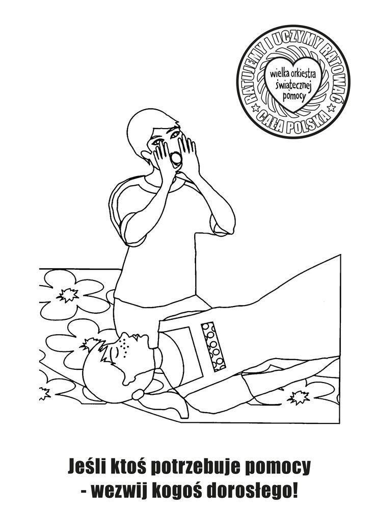 Kolorowanka na zajęcia z pierwszej pomocy w szkole / first aid / edukacja / education / children / szkoła / school