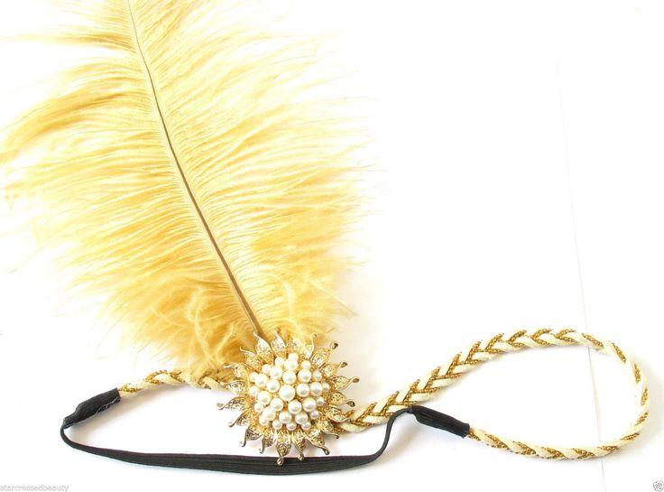 Starcrossed Beauty Q24 Kopfschmuck/Haarband, im Stil der 20er-Jahre, Straußenfeder, creme-/goldfarben: Amazon.de: Beauty