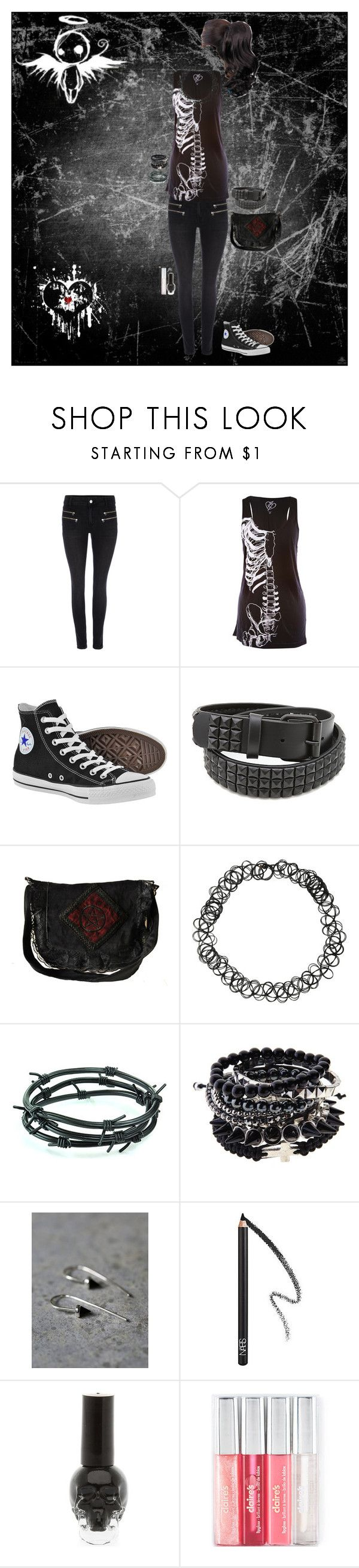 """""""Look 1-50"""" by candy-coated-doom ❤ liked on Polyvore featuring Modström, Iron Fist, Converse, Hot Topic, Barbed, Free People, NARS Cosmetics, emo and HIWIDIHS"""