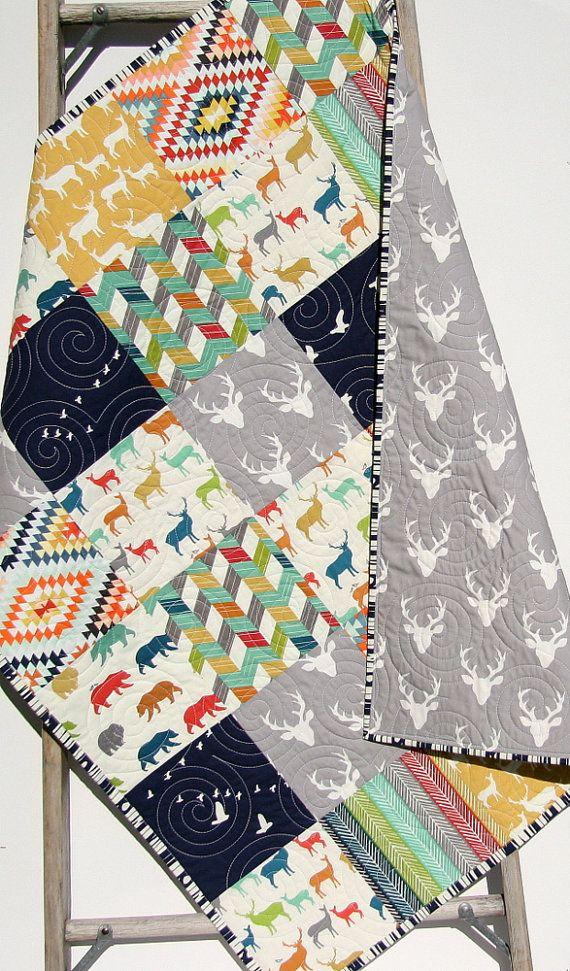 Baby Quilt, Boy, Elk Deer Stag Aztec Tribal, Woodlands , Birch Forest, Modern Blanket, Bear Bucks, Crib Bedding, Children Baby Navy Yellow by SunnysideDesigns2