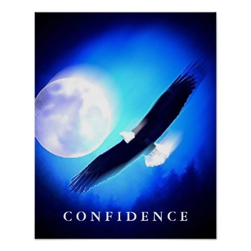 Landing Eagle Confidence Blue Night Art Posters