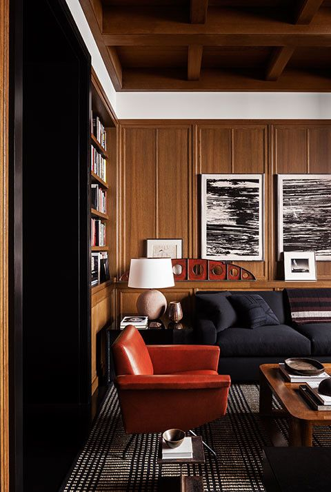 CONTEMPORARY CLASSIC: A Wood Paneled Man Nest   Paneling and cabinetry by New York Cutsom Interior Millwork Corp
