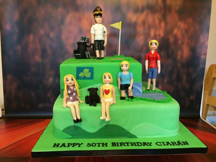 50th Birthday Cake. Pilot, golf, dog and family.