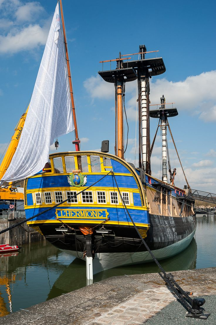 """Replica of the French frigate """"Hermione"""", Rochefort, France."""
