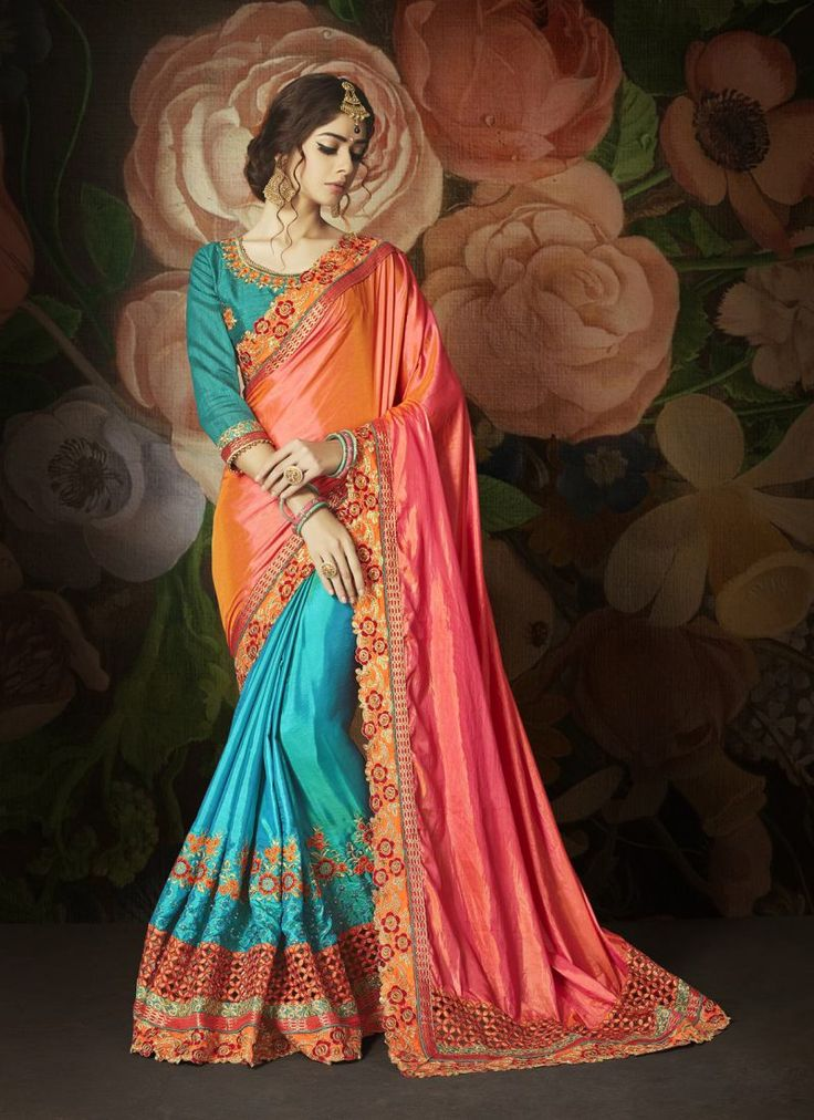 Designer Embroidered Party wear Orange and Blue Saree
