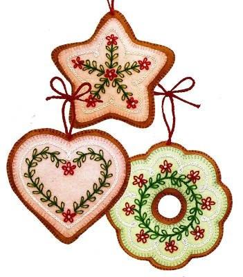 SIMPLE EMBROIDERY - FELT COOKIE CHRISTMAS TREE ORNAMENTS